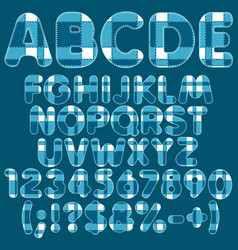 Alphabet letters numbers signs from blue felt vector