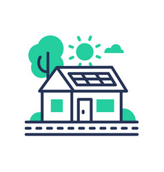 eco house - modern single line icon vector image vector image