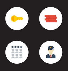 flat icons clue brick wall keypad and other vector image