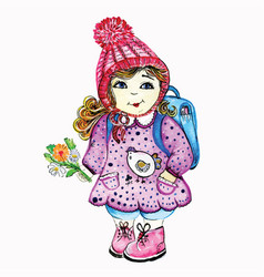girl schoolgirl goes to school in a cap and vector image