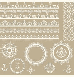 Lacy vintage ribbons napkins and design elements vector