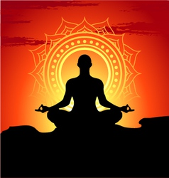 Meditating and doing yoga man vector