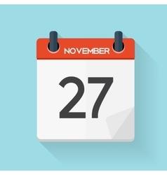 Navember 27 Calendar Flat Daily Icon vector image vector image