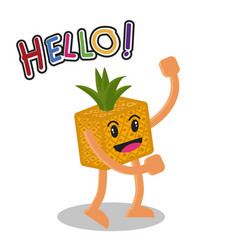 smiling pineapple fruit cartoon mascot character vector image