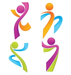 sportive people symbols look like ribbons vector image vector image