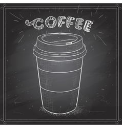 Coffee to go scetch on a black board vector image