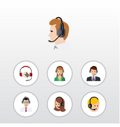 flat hotline set of service secretary call vector image vector image