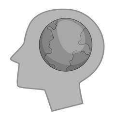 globe in human head icon monochrome vector image