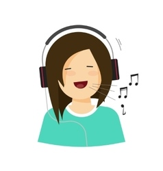 Happy smiling girl with headphones singing song vector image