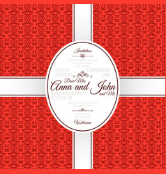 invitation card with red arabic pattern vector image vector image