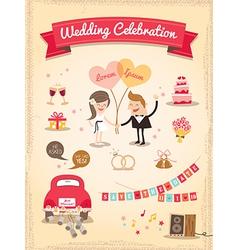 Set of wedding cartoon design elements vector
