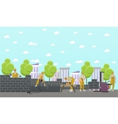 Construction site concept banner people vector
