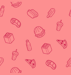 fast food outline isometric pattern vector image