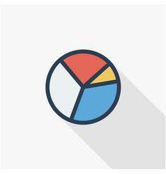 graph chart pie diagram thin line flat color icon vector image