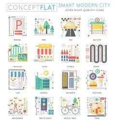 Infographics mini concept Smart modern city vector image vector image