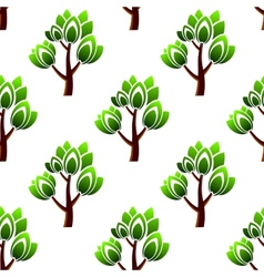 Seamless trees with leafy branches pattern vector image vector image