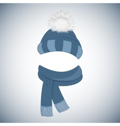 Winter cap with a pompom and a scarf with fringe vector