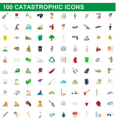 100 catastrophic icons set cartoon style vector