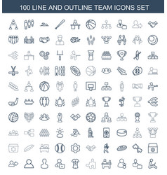 100 team icons vector