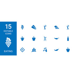 15 eating icons vector