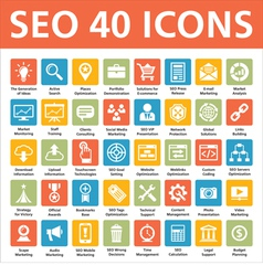 40 Icons SEO - Search Engine Optimization vector image