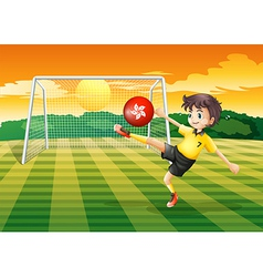 A female athlete kicking the ball with the flag of vector