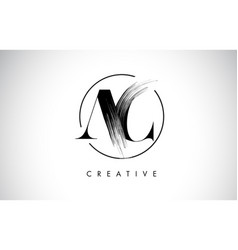 Ac brush stroke letter logo design black paint vector