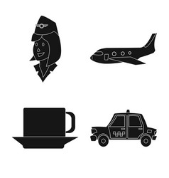 Airport and airplane icon vector