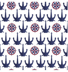 anchors and compasses seamless pattern nautical vector image