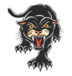 Angry black panther attacking pose tattoo vector