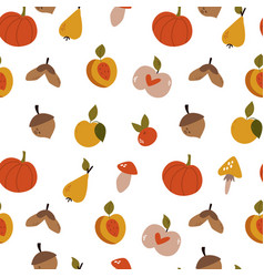 autumn seamless pattern with colorful fruits vector image