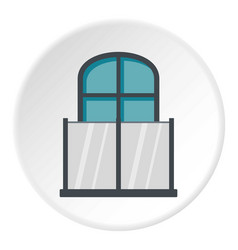 balcony with a glass fence icon circle vector image