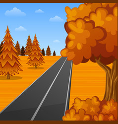 beautiful autumn landscape with empty road vector image