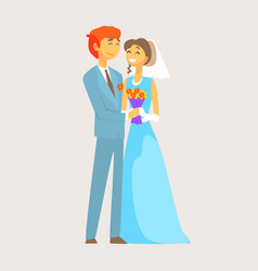 beautiful loving couple of bride and groom is vector image