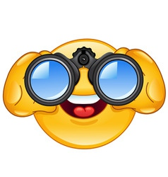 binoculars emoticon vector image