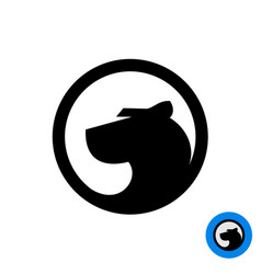Black panther head logo in a round badge vector