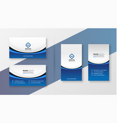 Blue wavy business card professional template vector