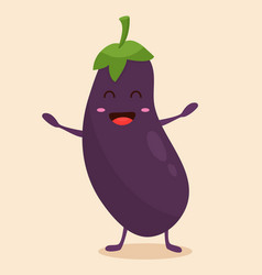 Bright poster with cute cartoon eggplant vector