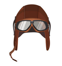 Brown aviator hat with goggles isolated on white vector