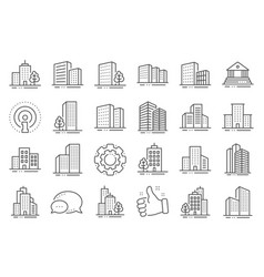 Buildings line icons bank hotel courthouse vector