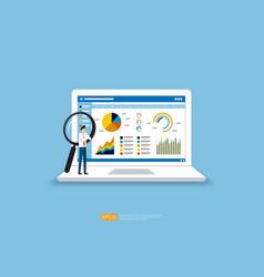 Businessman analysis web statistics charts vector