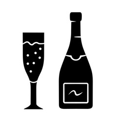 Champagne glyph icon uncorked bottle and flute vector