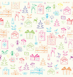 christmas childish seamless retro pattern vector image