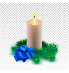 christmas realistic golden candle and vector image
