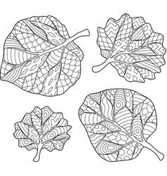 coloring book page with leaves vector image