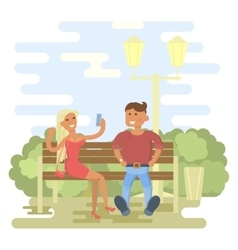 Couple in summer on a park bench vector