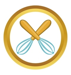 Crossed kitchen whisks icon vector image