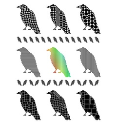 Crow silhouette set vector