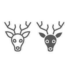 Deer line and glyph icon animal and zoo vector
