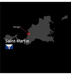 Detailed map saint-martin and capital city vector